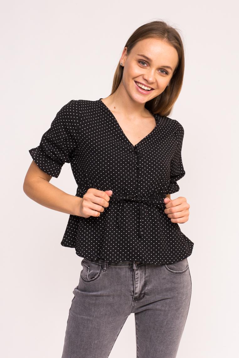 Стильная блузка в горошек LUREX - черный цвет