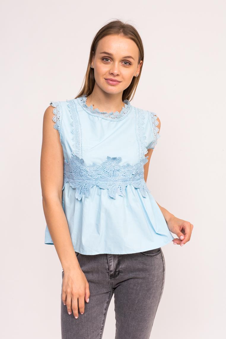 Блузка с гипюровыми вставками LUREX - голубой цвет