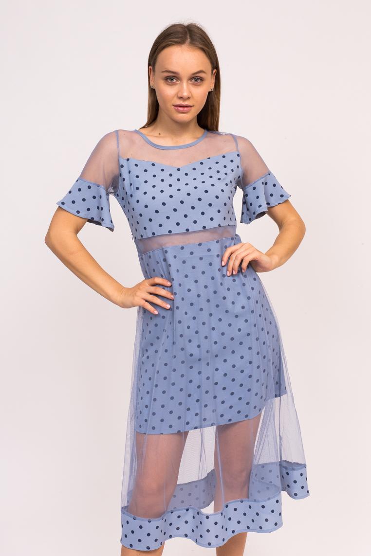 Длинное платье в горох KDY - синий цвет