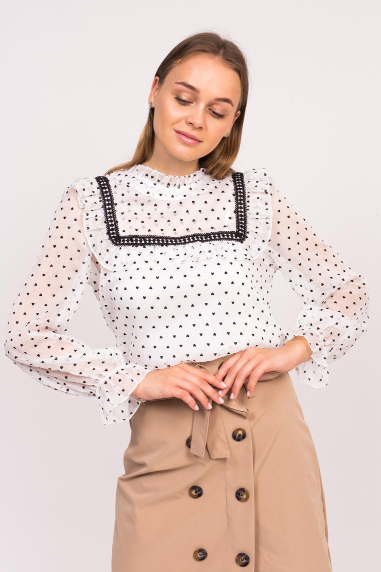 Блузка в сердечка с длинным рукавом LUREX - белый цвет