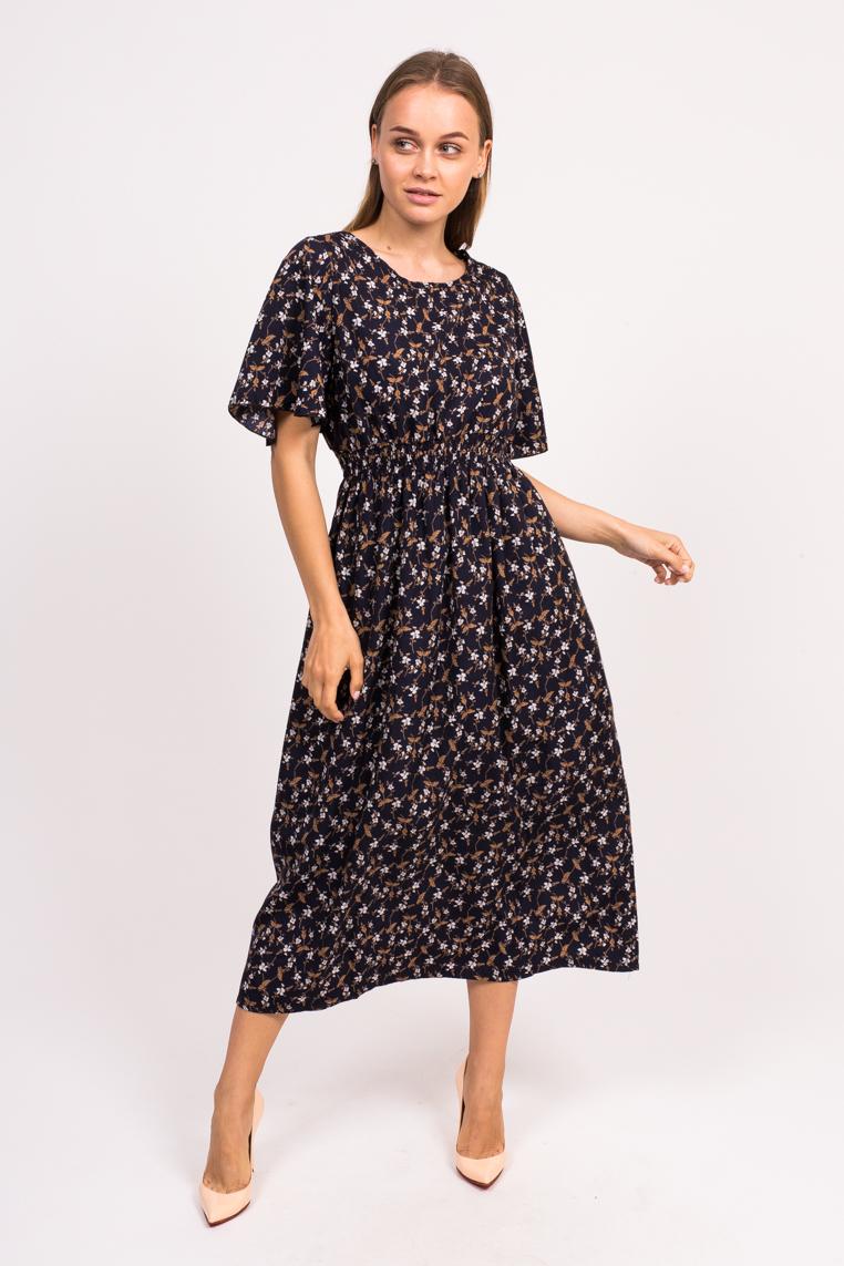Длинное цветочное платье LUREX - темно-синий цвет
