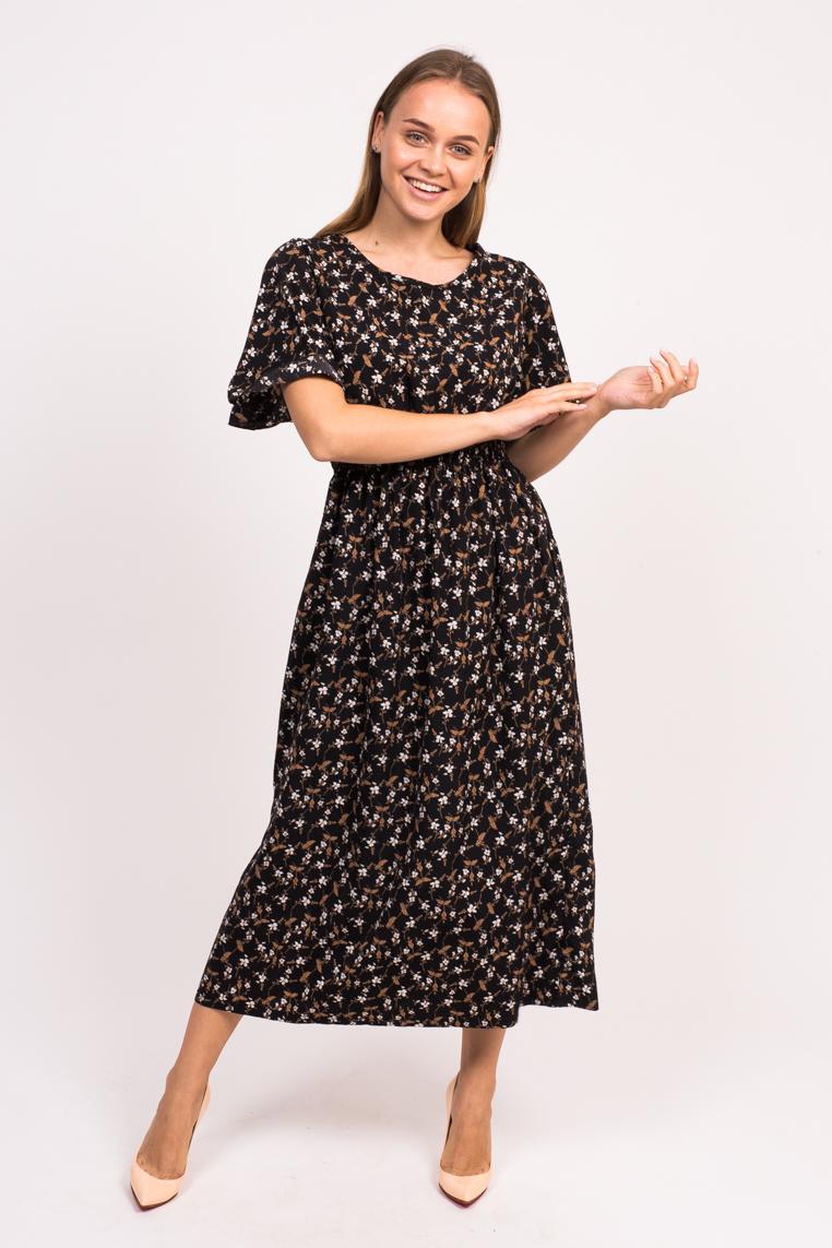 Длинное цветочное платье LUREX - черный цвет