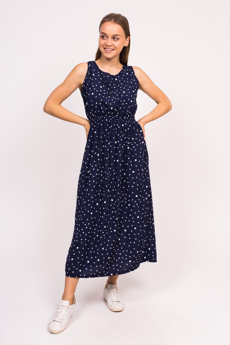 Длинное летнее платье LUREX - синий цвет