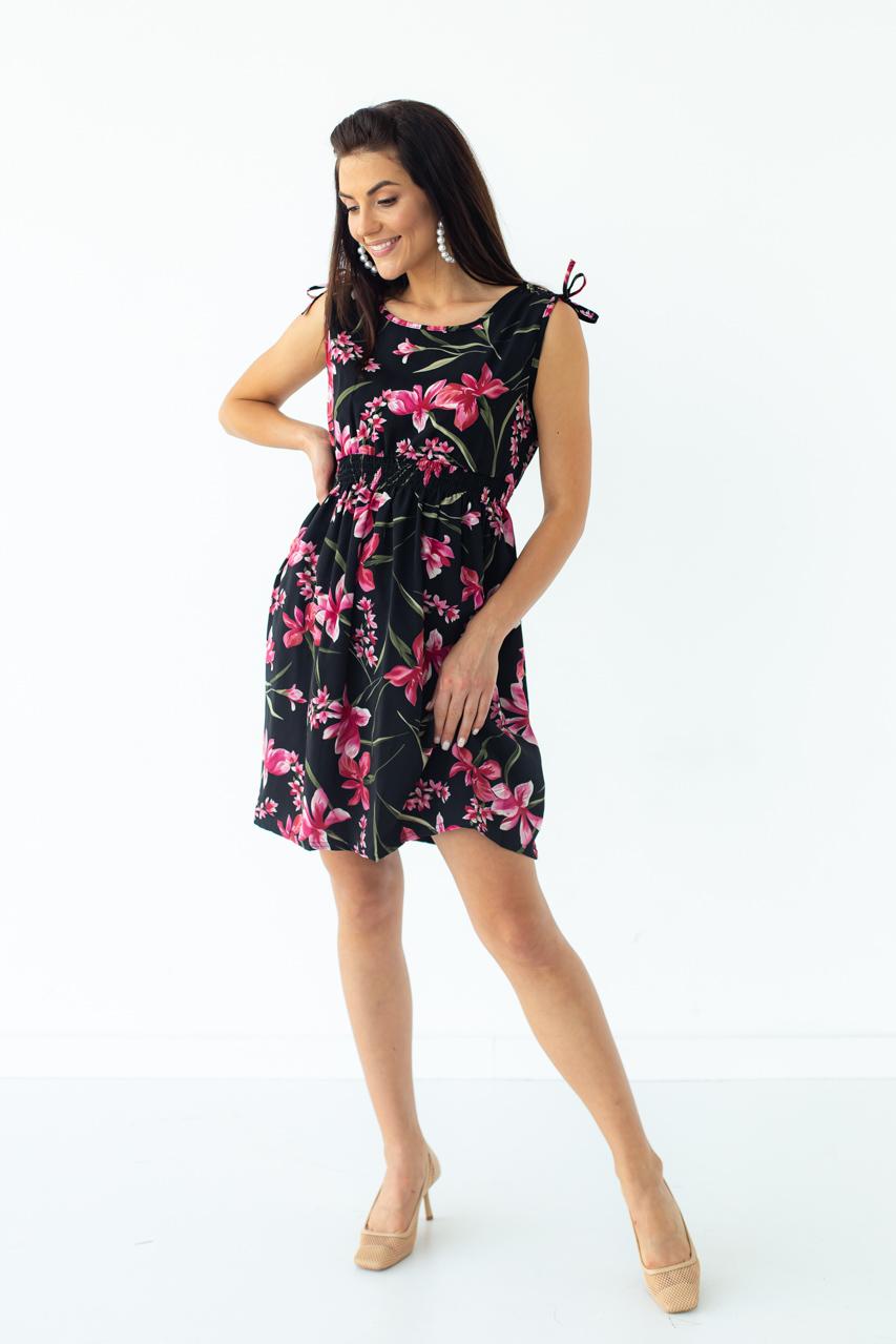 Короткое летнее платье LUREX - черный цвет