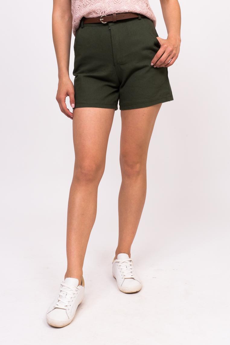 Джинсовые женские шорты LUREX - зеленый цвет