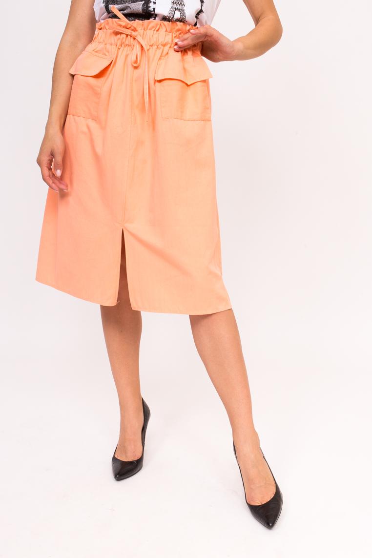 Стильная юбка с накладными карманами LUREX - персиковый цвет