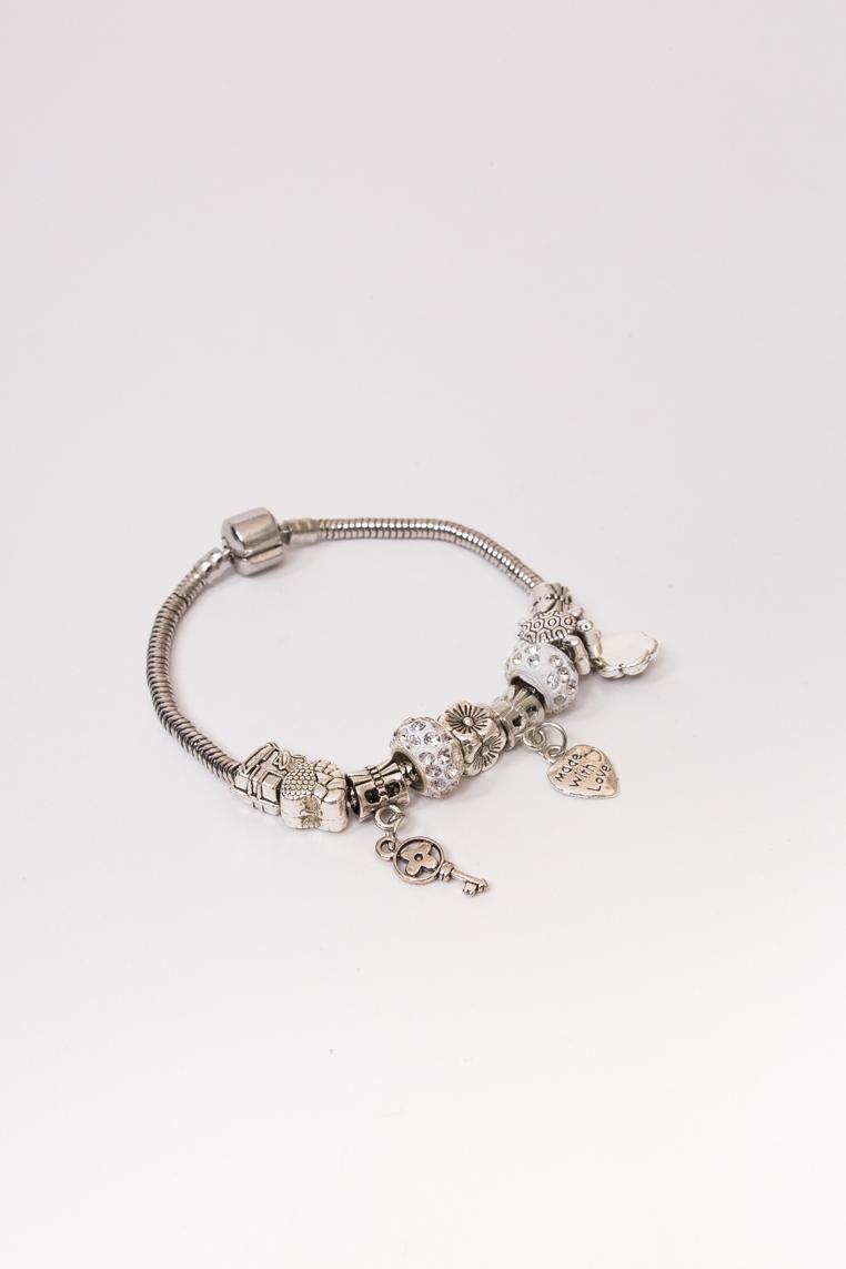 Браслет с подвесками шармами Fashion Jewelry - серебряный цвет