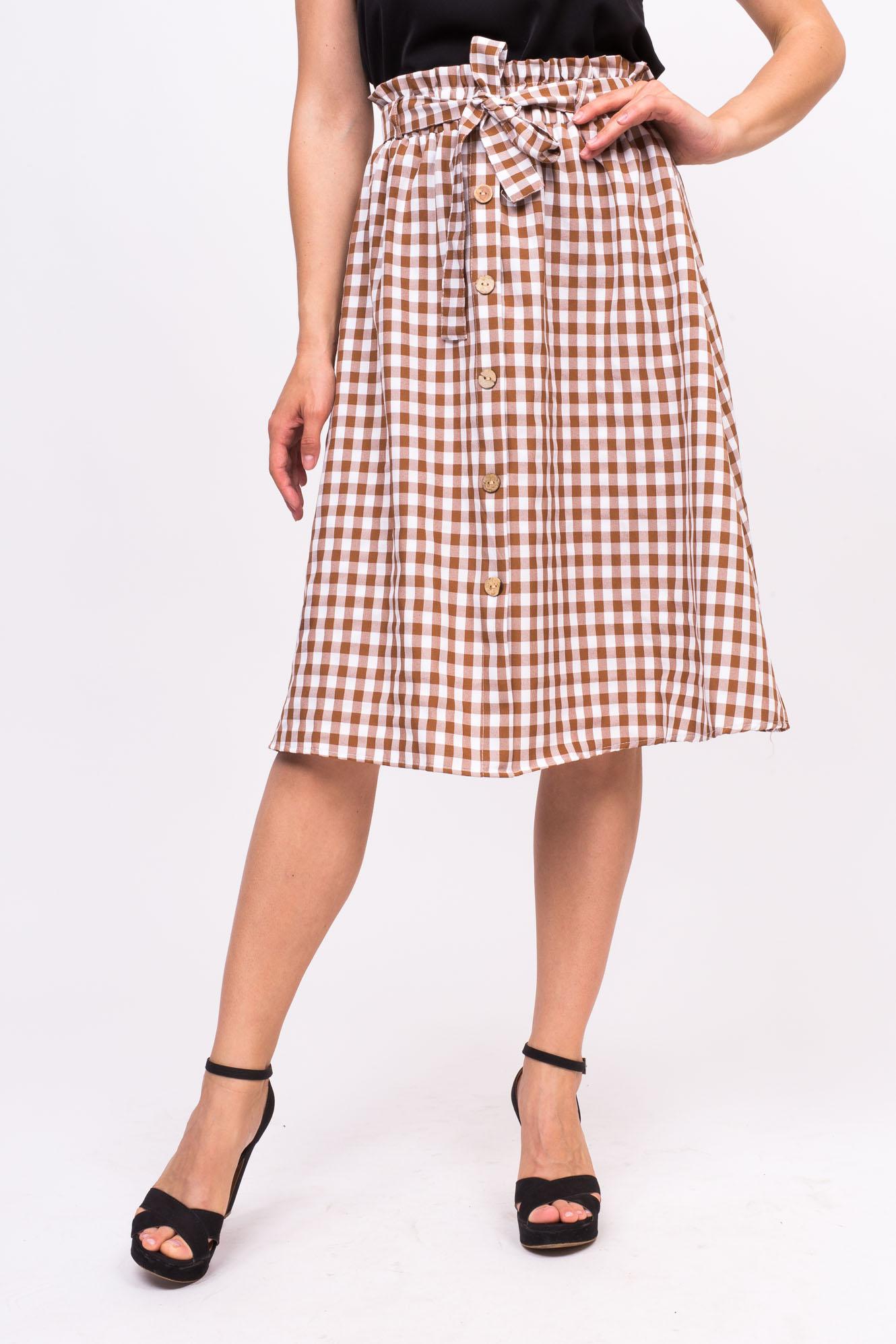 Клетчатая юбка с пояском LUREX - коричневый цвет