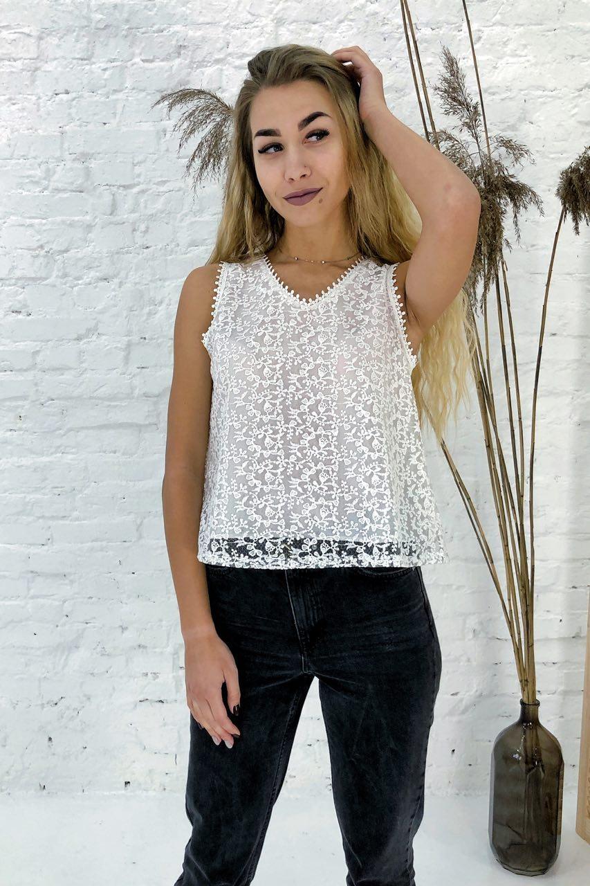 Летняя блузка без рукавов Rong Rong - белый цвет