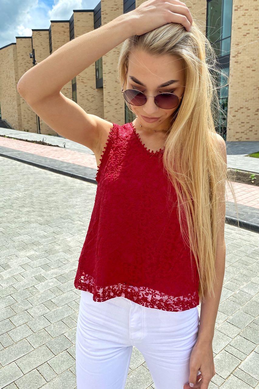 Летняя блузка без рукавов Rong Rong - бордо цвет