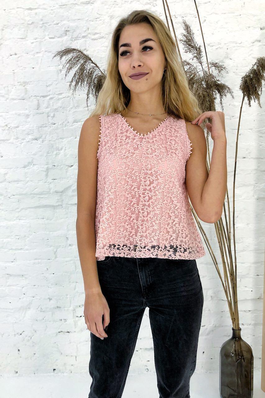 Летняя блузка без рукавов Rong Rong - пудра цвет