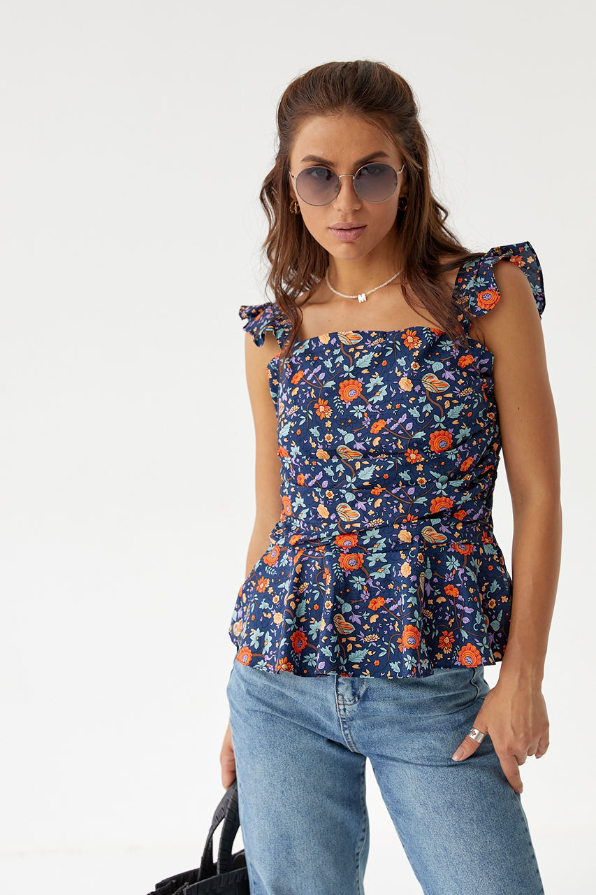 Стильная женская блузка YI MEI SI - синий цвет