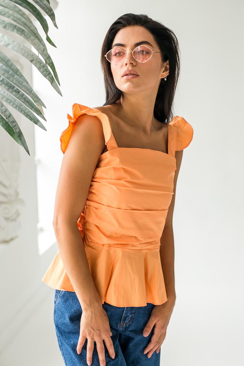 Элегантная летняя блузка QJBM - оранжевый цвет