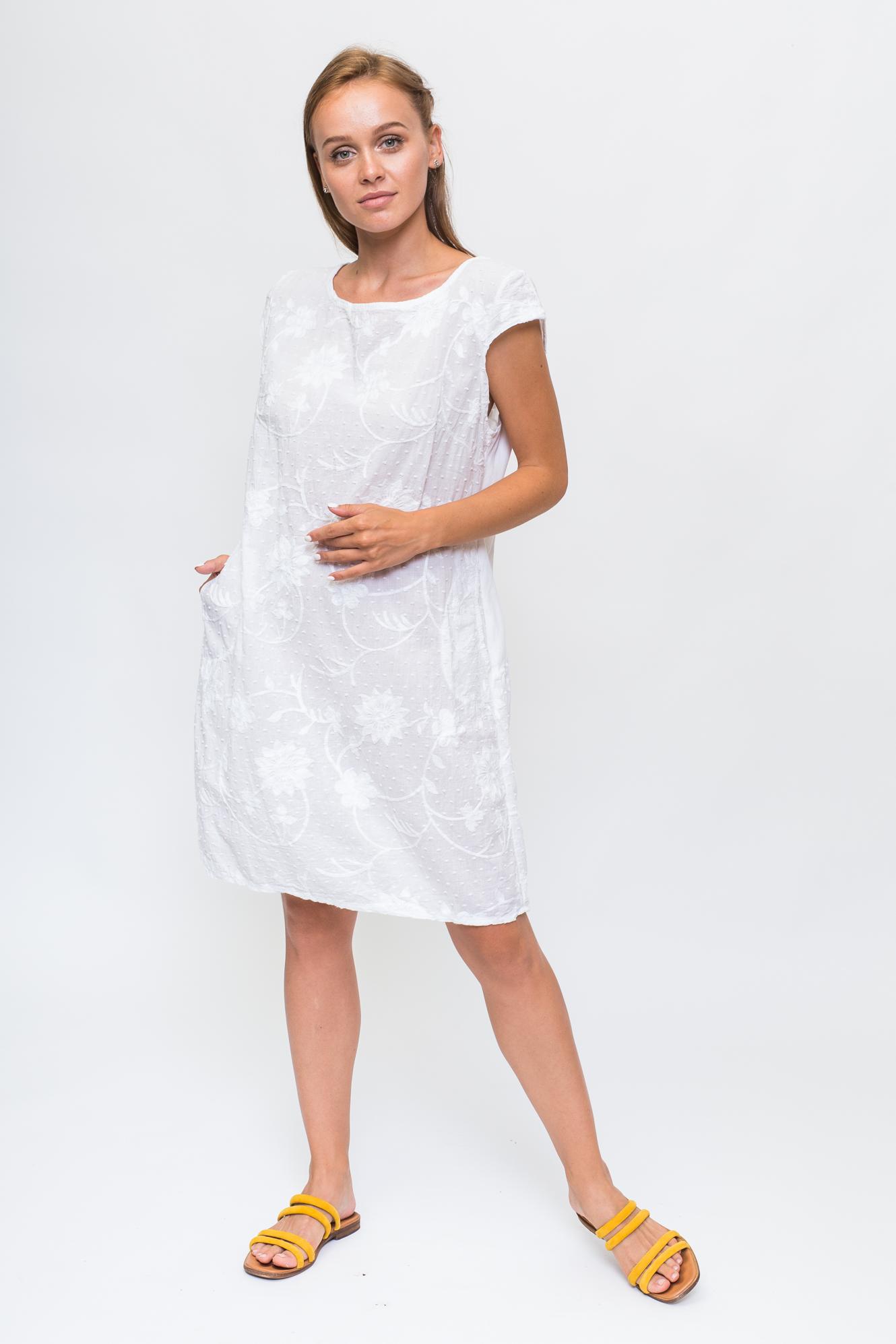 Летнее платье с объемной цветочной аппликацией LUREX - белый цвет