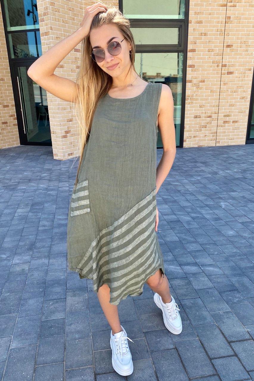 Стильное летнее платье Puro Lino - хаки цвет