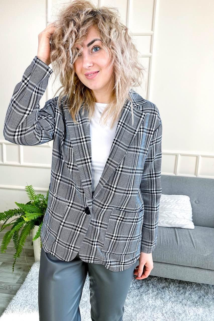Классический клетчатый женский пиджак LUREX - серый цвет