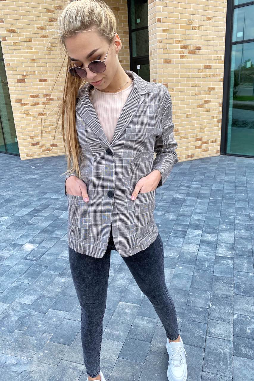 Классический клетчатый женский пиджак LUREX - кофейный цвет