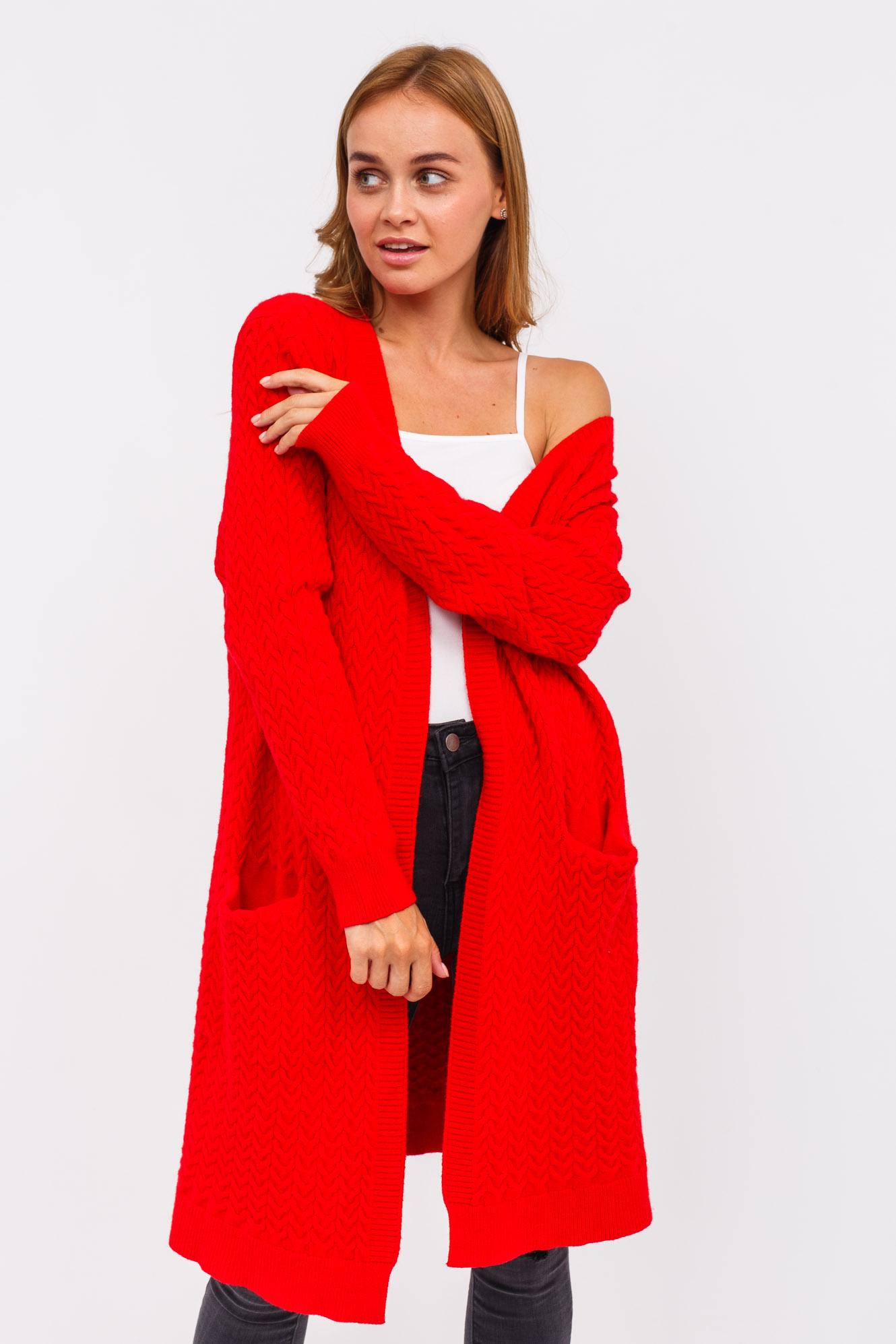 Плотный женский кардиган P-M - красный цвет