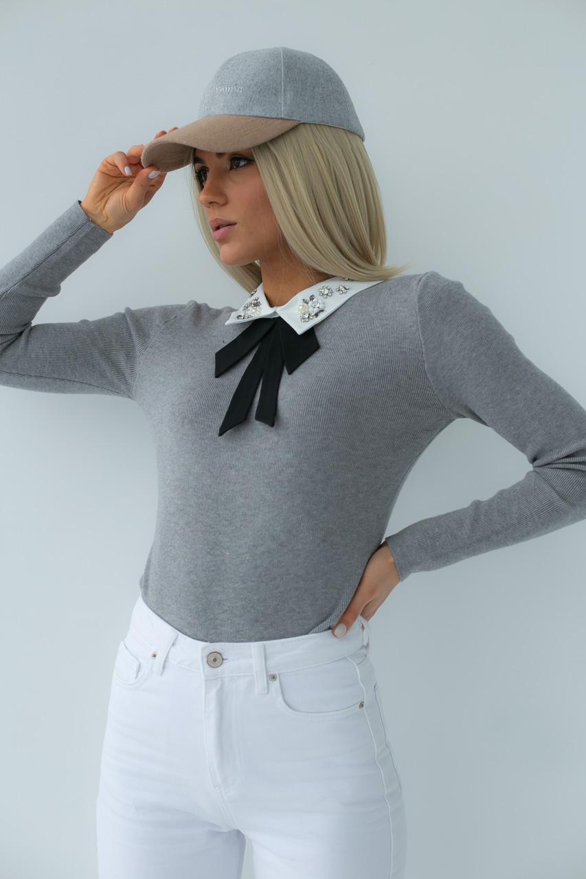 Женская кофта-блузка с воротником LUREX - серый цвет