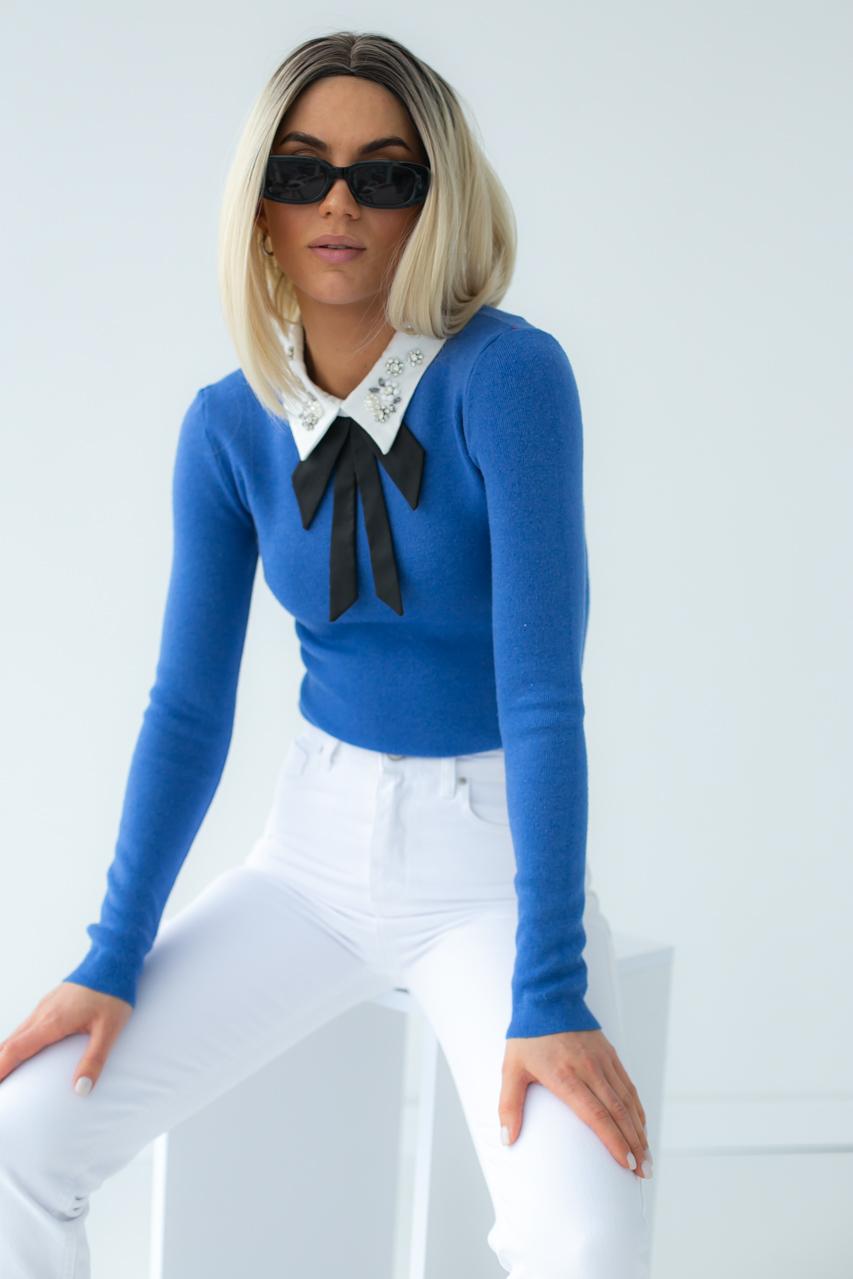 Женская кофта-блузка с воротником LUREX - синий цвет