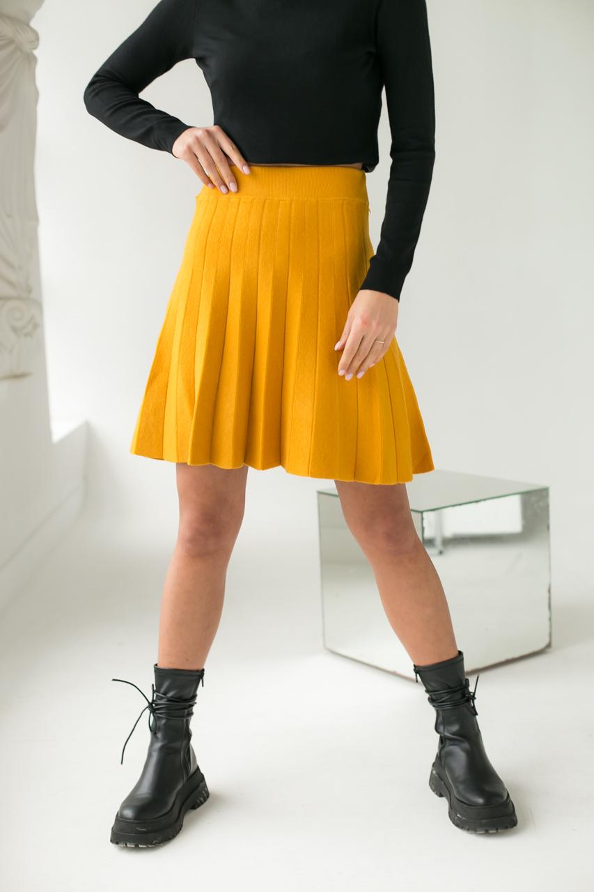Стильная юбка клеш ebelieve - горчичный цвет